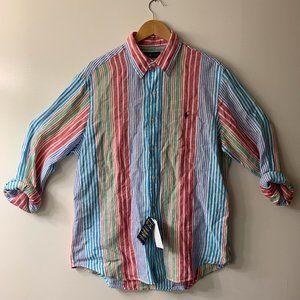 Polo Ralph Lauren Red Blue Stripe Linen Shirt